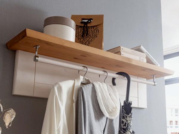 Garderobe mit Hutablage u. Kleiderstange Garderobenpaneel Milan Pinie Nordica weiß gewachst