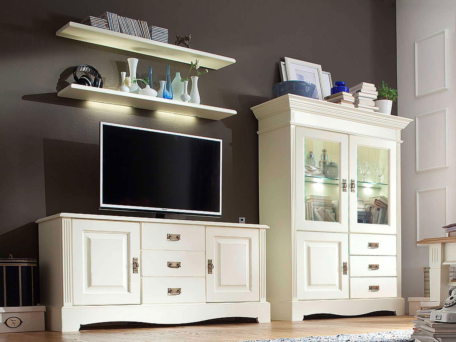 TV Schrank Set Wohnzimmer Padua 4-teilig B 294 x H 166 x T 45 cm Pinie  Nordica massiv