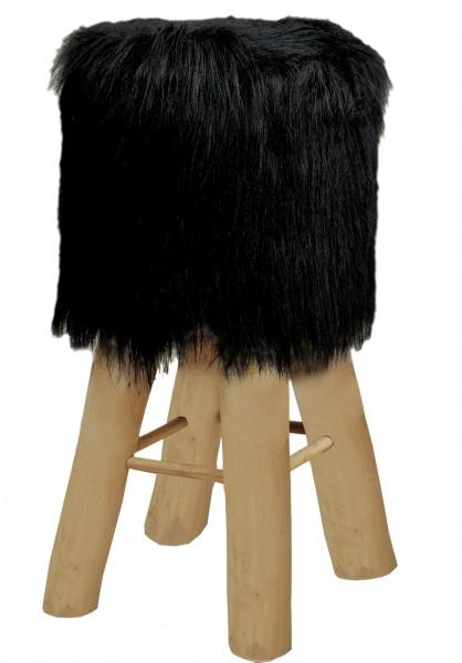 Barhocker Bistrohocker Theken Hocker Kunstfell schwarz mit Holzfüßen Ø 35 cm Höhe 72 cm