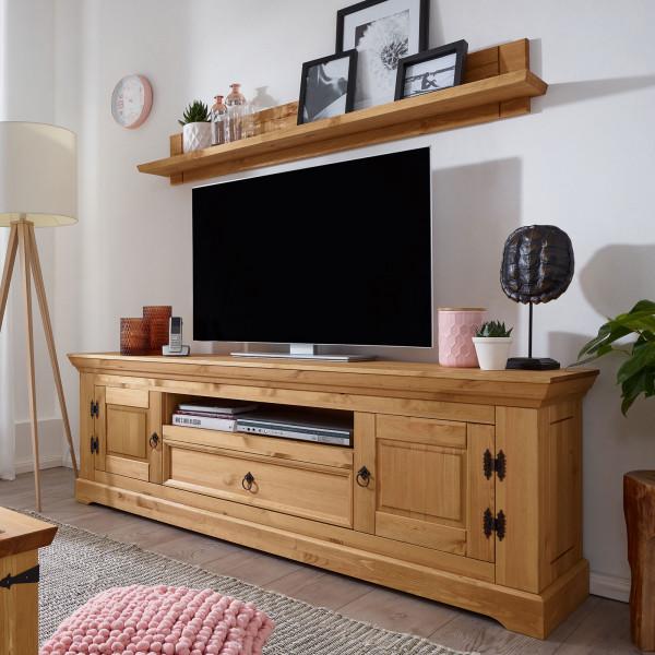 Fernsehschrank TV Lowboard Set Torino mit Wandbord/Bücher-Regal Pinie Nordica eichefarbig gebeizt