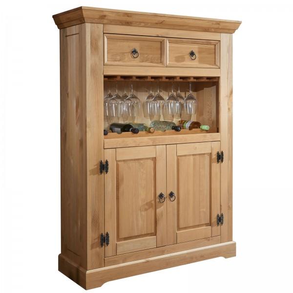 Barschrank Hochanrichte Torino mit 2 Holztüren 2 Schubladen 1 Flaschenboden Pinie Nordica eichefarbi