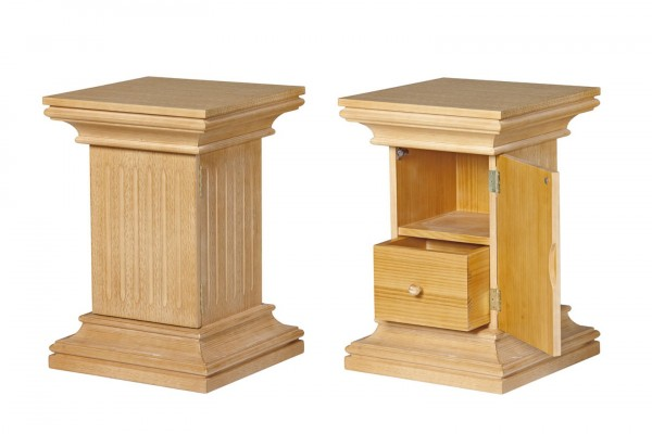 Säulenschrank Chalet mit Holztür und Schubkasten