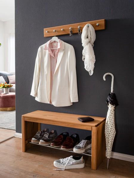 Garderobe Garderoben Set 2- teilig Schuhregal und Kleiderhakenleiste Picco Pinie Nordica eichefarbig