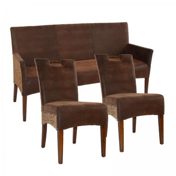 Sitzbank und 2 Rattan-Stühle-SET Bilbao vollgepolstert, Polster prairie brown