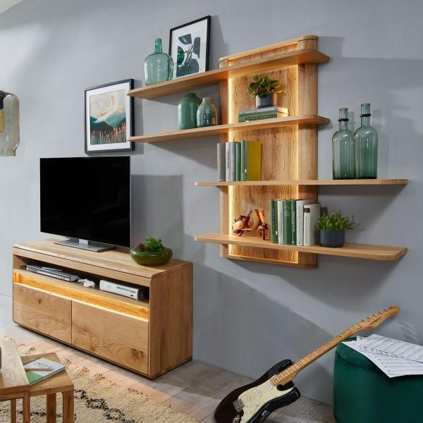 TV Schrank Set mit Wandregal Massivholz TV Lowboard ca. 220x200 cm Bergeiche Wildeiche massiv