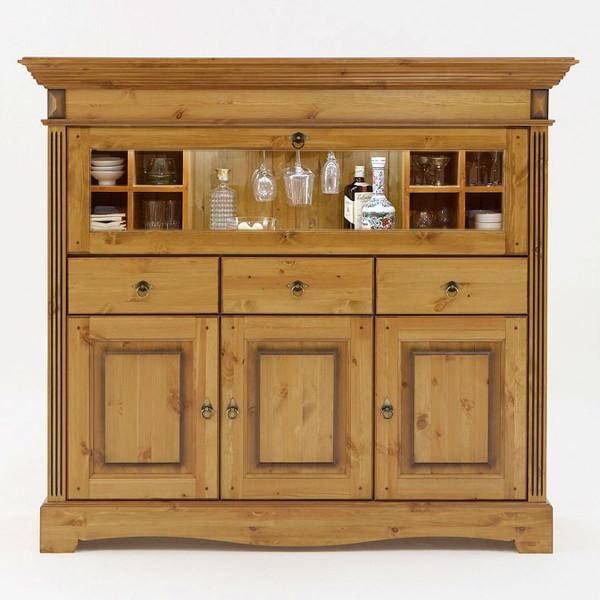 Barschrank Highboard Florenz 1 Glas-Klapptür 3 Schubladen 3 Türen mit 2 Multifunktionseinsätzen