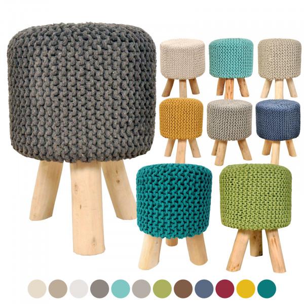 Sitzhocker Strick-Hocker Pouf Schemel Ø 35 cm Höhe 45 cm mit Holzfüßen viele Farben