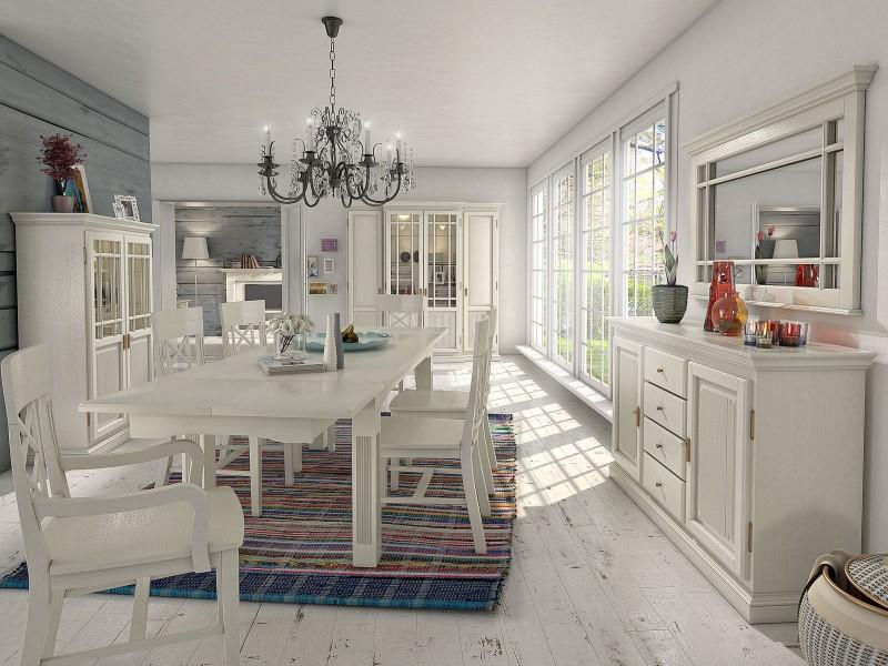 Moderne und klassische Esszimmer aus massivem Holz in weiß ...