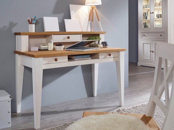 Schreibtisch Arbeits-Tisch Computertisch Milan mit Aufsatz Pinie Nordica weiß gewachst