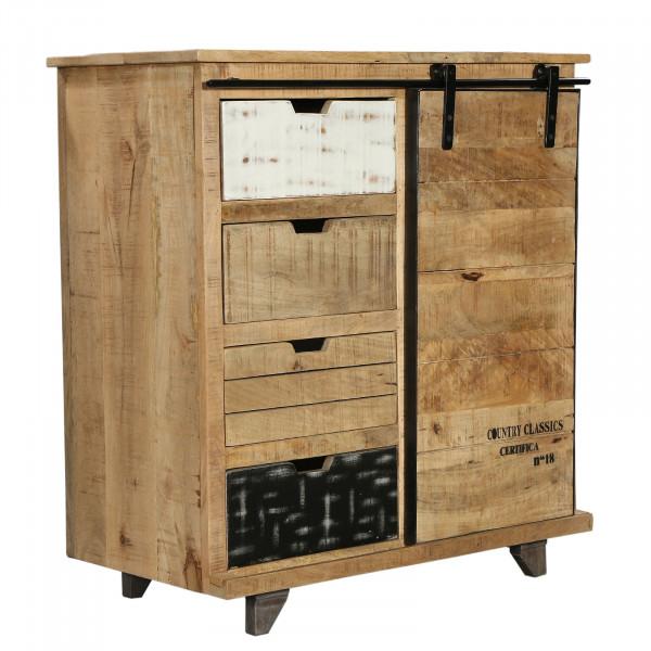 Sideboard Anrichte Mangoholz Shabby Chic Vintage rustikal mehrfarbig massiv 80x85x40 cm Industrie-D-