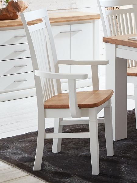 Esszimmer-Stuhl mit Armlehnen Novara/Olbia und Holzsitzfläche Pinie Nordica weiß Wildeiche geölt