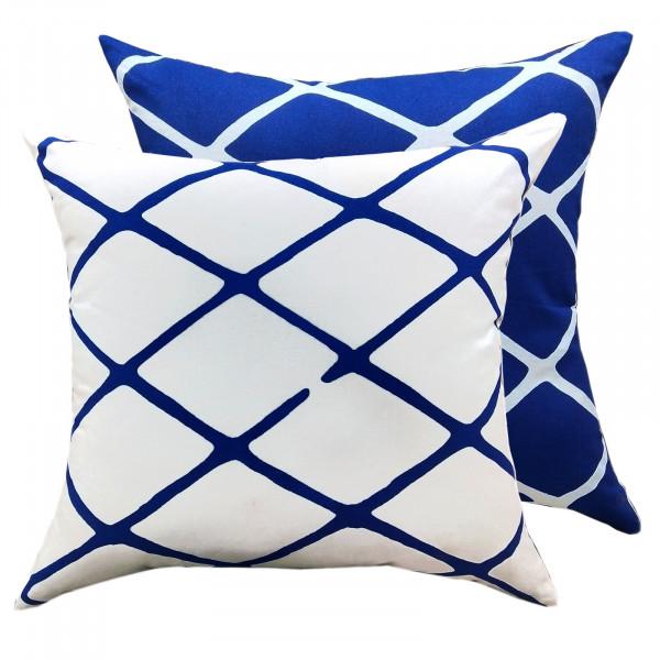 Zierkissen Set 2 Verschiedene Deko Kissen 45 x 45 cm Sofa Kissen blau weiß Baumwolle Karo-Design