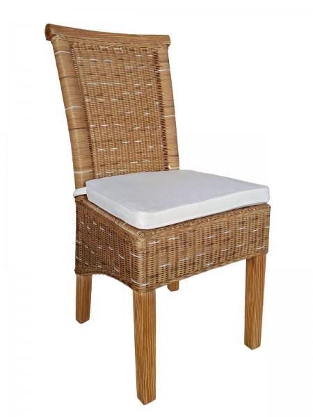 Esszimmer Stuhl Rattanstuhl Wintergarten Stühle natur/braun Perth Sitzkissen Leinen weiß