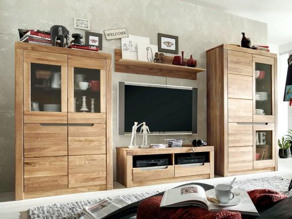 Wohnwand Massivholz Wohnzimmer Schränke 4-teilig Bergen 2 Vitrinen Lowboard Regal Wildeiche massiv