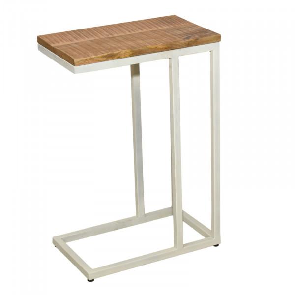 Beistelltisch 2. Wahl 40x60x25 cm Sofatisch Laptoptisch C-Tisch Liverpool Metall-Gestell weiß