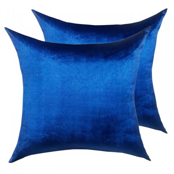 Deko Kissen Zierkissen Set 2 Stück Sofa Kissen Velour Samt 45 x 45 cm glatte Oberfläche royalblau