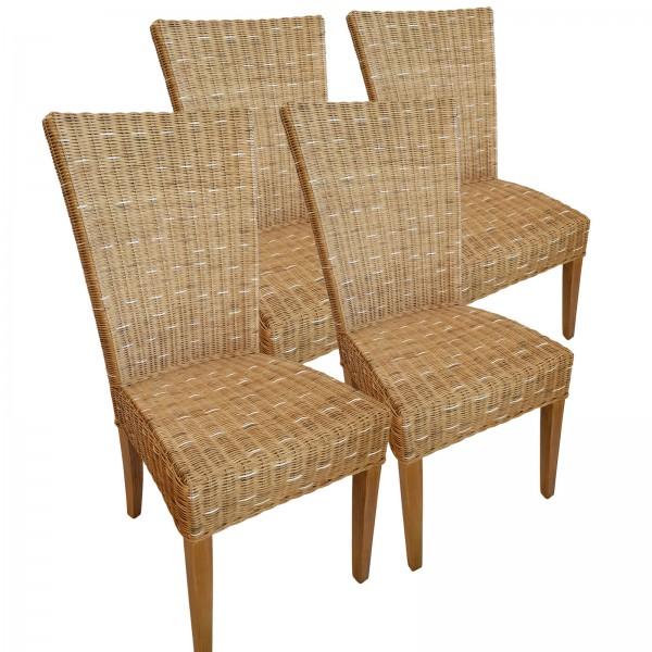 Esszimmer Stühle Rattanstühle Wintergarten Cardine 4 Stück Stuhl capuccino Sitzkissen leinen weiß