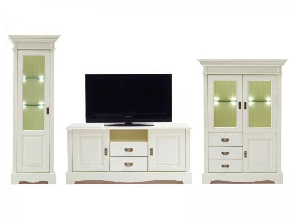 Wohnzimmer Schrank Set Wohnwand Padua 3-teilig B 367 x H 204 x T 49 cm Pinie Nordica massiv