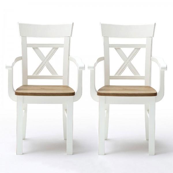 Esszimmer-Stuhl 2er Set mit Armlehnen Novara Kreuzrücken und Holzsitz Pinie Nordica weiß Wildeiche