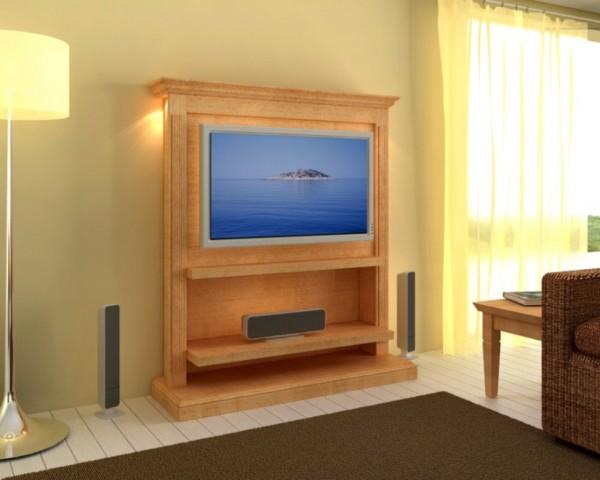Flachbild-TV-Wandboard Duett, Pinie massiv