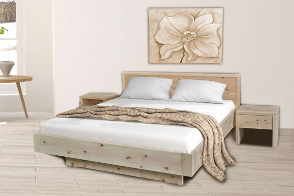 Zirbenholzbett Schwebebett Zirbenbett Bett Mia 2 90/100/120/140/160/180/200 x 200 cm Zirbe massiv