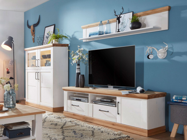 Wohnwand Bari 3-teilig 1 Highboard TV Schrank groß 1 Wandbord Pinie Nordica weiß