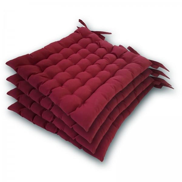 Stuhlkissen 4er Set 40x40cm Sitzkissen Stuhlauflage mit Bindeband 4 Stück Bezug 100% Polyester