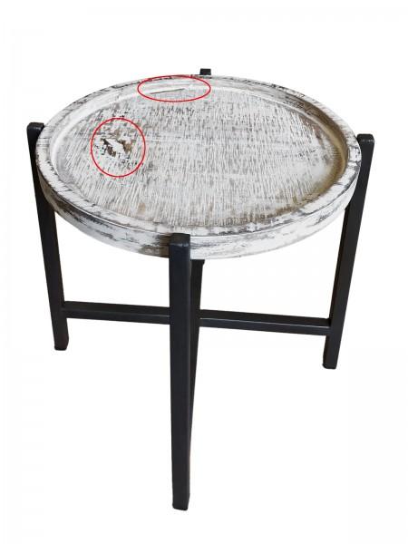 Beistelltisch rund Couchtisch Wohnzimmer-Tisch Omaha 2. Wahl weiss gekälkt Metall-Gestell altsilber