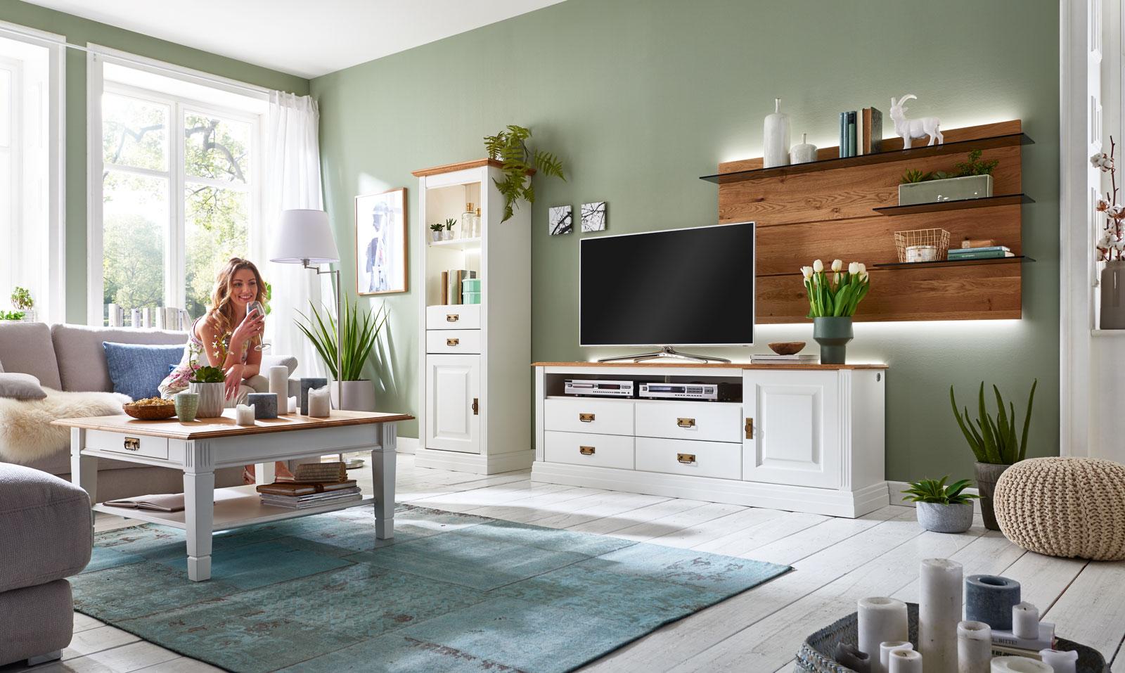 Couchtisch Wohnzimmer-Tisch Novara 130x75 cm mit Schublade Pinie Nordica  weiß Wildeiche natur massiv