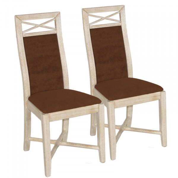 Esszimmer-Stuhl-Set 2 Stück Massivholz Stühle Sitz und Rücken gepolstert Pinie massiv