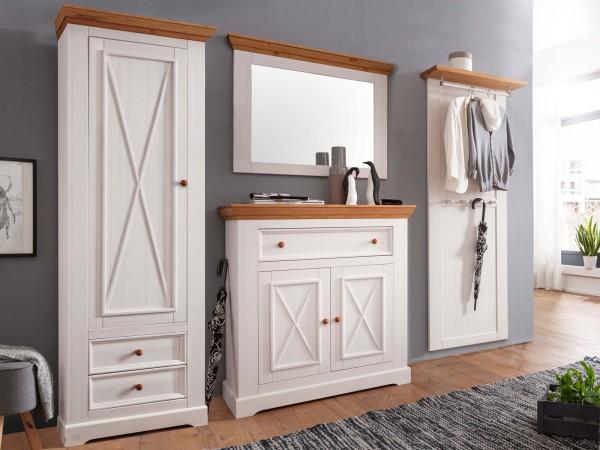 Garderoben SET 4 mit Schuhschrank Kleiderschrank Garderobenpaneel u. Spiegel und Milan weiß