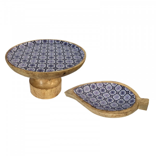 Tortenplatten Set mit Fuß und 1 Knabberteller Blatt Mangoholz mit Keramikdekor lebensmittelgeeignet