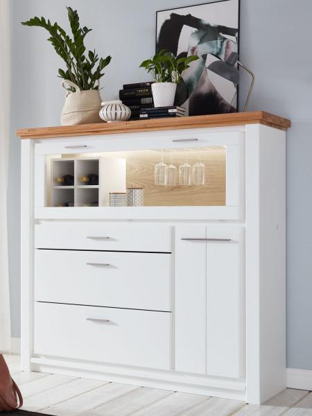 Barschrank Highboard Olbia 151x146x48 cm Pinie Nordica weiß und Wildeiche natur geölt massiv