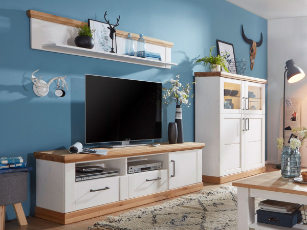 Wohnwand Bari 3-teilig 1 TV Schrank groß 1 Highboard 1 Wandbord Pinie Nordica weiß