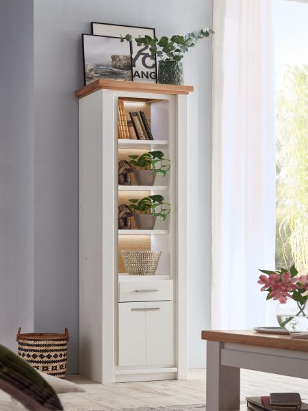 Regal Schrank Standregal Olbia 75x210x48 cm Pinie Nordica weiß und Wildeiche natur geölt massiv