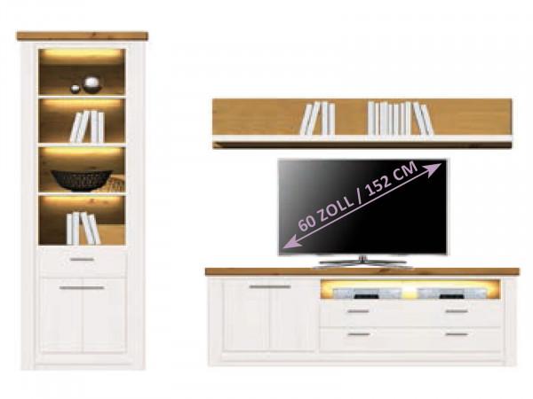 Wohnwand Olbia Regal Schrank TV Lowboard Bücherbord Pinie Nordica weiß und Wildeiche natur geölt