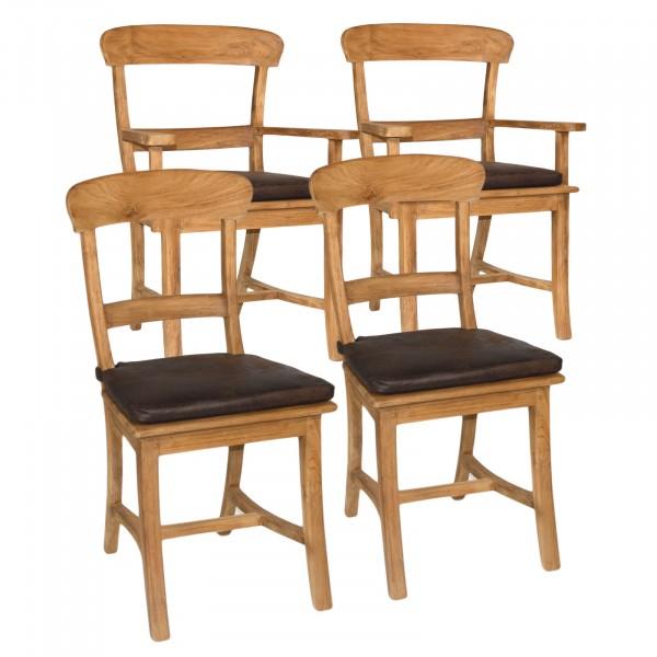Esszimmer Stühle SET Tanja je 2 Stück mit und ohne Armlehne Teakholz gebürstet unbehandelt