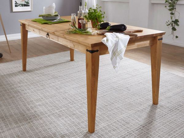 Esstisch Massivholz-Tisch Torino 180x90 cm breit Pinie Nordica eichefarbig gebeizt geölt