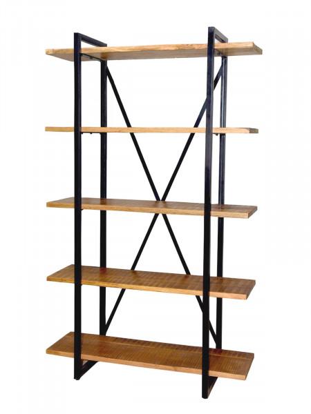 Bücher Regal Bücherbord Standregal 117 x 190 x 36 cm Liverpool Metall-Gestell schwarz matt