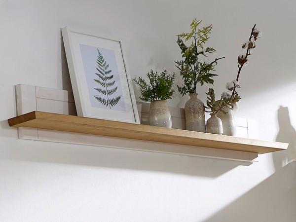 Wandbord Bücher-Regal Milan 161 cm breit, Pinie Nordica weiß gewachst