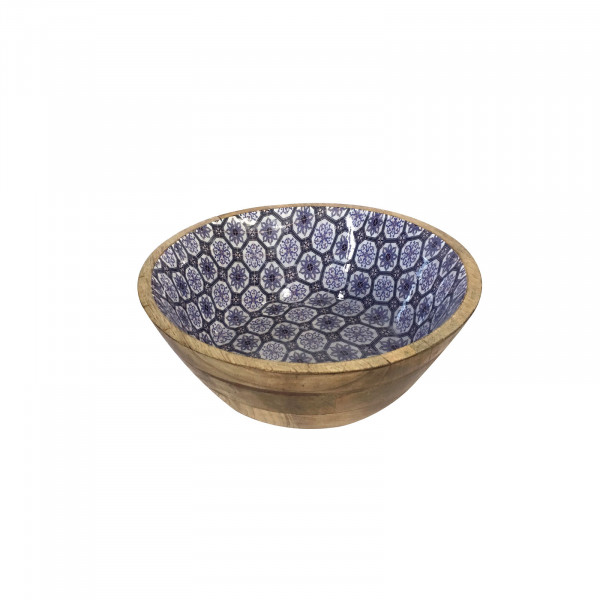 Müslischale Dipschale Deko Schale ø 12 cm Mangoholz mit Keramikdekor lebensmittelgeeignet