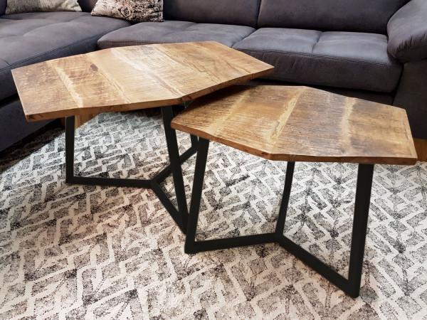 Couchtisch Set 2 Stück 2. Wahl dkl. Kitt Wohnzimmer Tisch Nr. 3 Satztisch Paris Metall-Gestell schwa