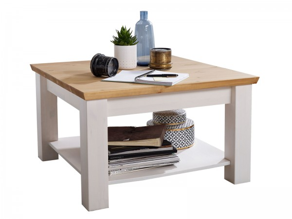 Couchtisch Wohnzimmer-Tisch 75 x 75 cm quadratisch Milan Pinie Nordica weiß gewachst