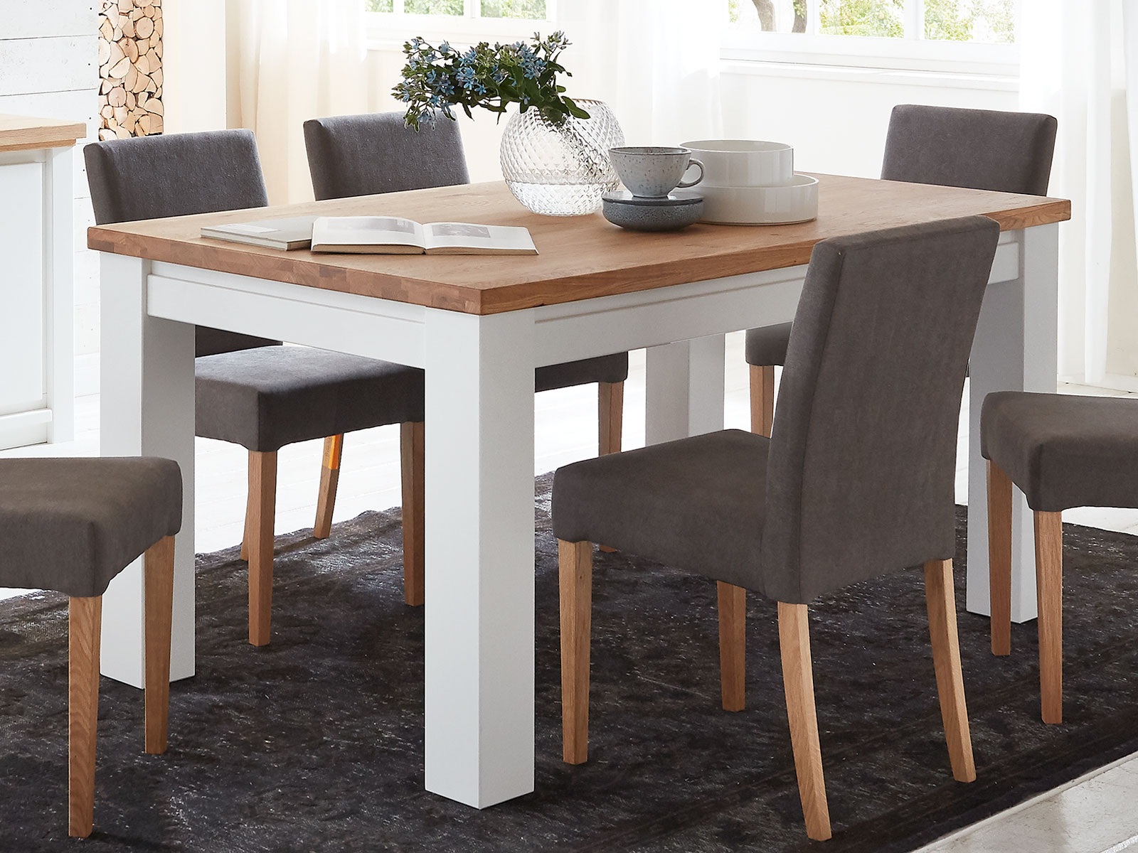 Esstisch Kuchen Tisch Olbia 140 160 180 200 X 95 Cm Pinie Nordica Weiss Und Wildeiche Natur Geolt Casamia Wohnen