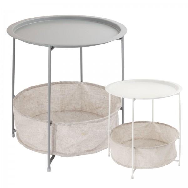 Beistelltisch Metall rund mit Aufbewahrungslösung Alberta Gartentisch Balkon Tisch Terassentisch