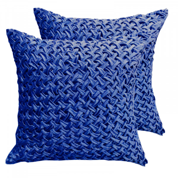Zierkissen Deko Kissen Set 2 Stück Sofa Kissen Velour Samt 45 x 45 cm Flechtdesign royalblau