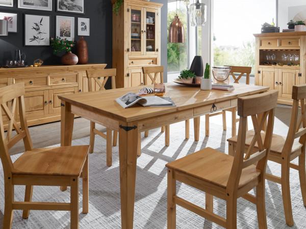 Essgruppe Torino Massivholz 1 Esstisch 180x90 cm u. 6 Stühle Pinie Nordica eichefarbig gebeizt geölt