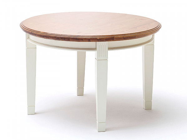 Esstisch Küchen-Tisch Novara rund ø 120 cm Pinie Nordica weiß Wildeiche massiv