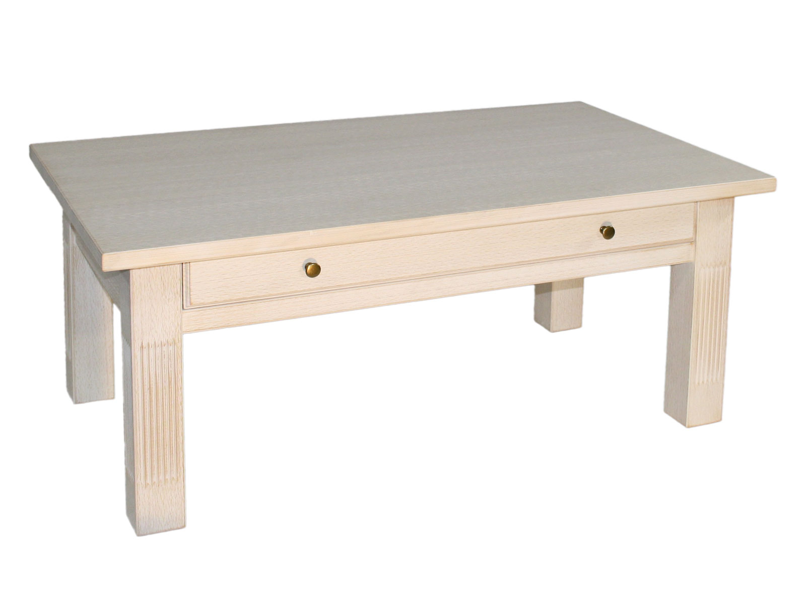 Couchtisch Wohnzimmer-Tisch 40 x 40 cm mit Schublade und fester Platte  Pinie massiv