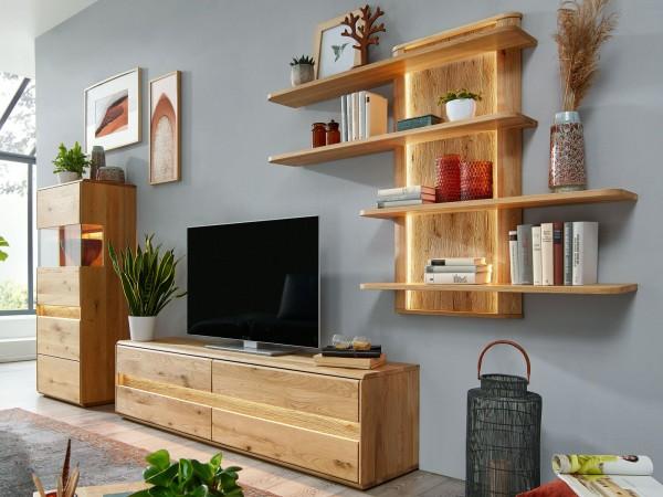 Wohnwand Massivholz Vitrine halbhoch TV Lowboard Wandregal ca. 330x190 cm Bergeiche Wildeiche